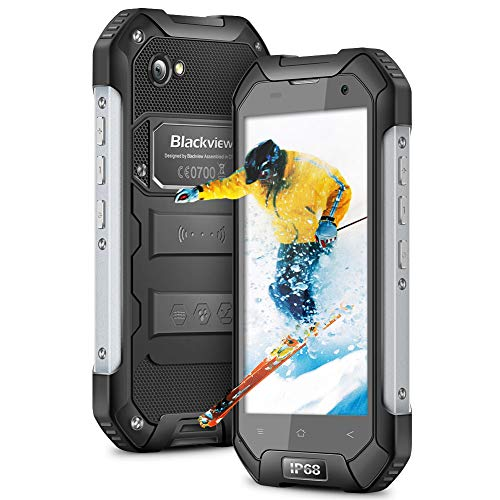 Blackview BV6000S Outdoor Handy ohne vertrag, IP68 Dual SIM 4G Smartphone 4500mAh Akku, 4.7 Zoll Display, 16GB ROM+2GB RAM 32GB interner Speicher, 8MP+2MP Kamera Rugged Handy NFC GPS+Kompas, Schwarz