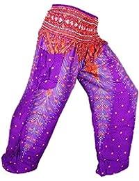 made in zen Sarouel Femme Pantalon Ethnique Aladin Harem Pant Aladdin  Bouffant Boho Baggy Yoga Violet c979387aa19