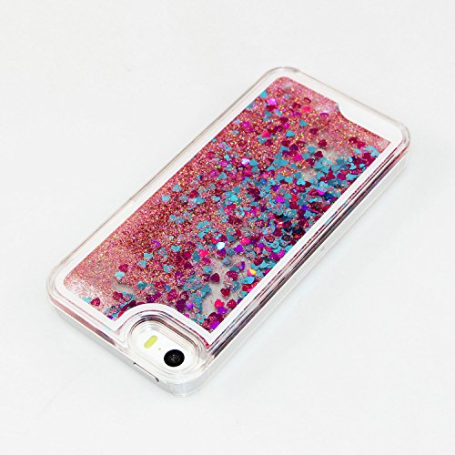 iPhone 6S Bling Coque,iPhone 6 Glitter Coque,iPhone 6S Case,iPhone 6 Case,iPhone 6S Dual Layer Plastic Coque Liquide Cases Covers,EMAXELERS 3D unique Brillant Bling Glitter Cristal Quicksand Transpare U Heart 4