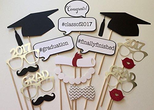 Veewon 2017 Graduierung Fotorequisiten Photobooth Partei-Bevorzugung 17pcs Gläser Schnurrbart-rote Lippen Bogen Krawatten auf Stock Grad Partei (Mit Maske Rote Stock)