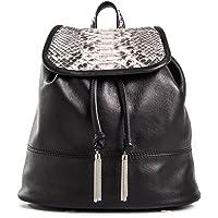 Niagara -Passione Bags - Zaino da donna in pelle nera con patta in vero pitone. Animalier Made in Italy