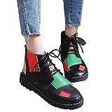 OSYARD Damen Laufschuhe Atmungsaktiv Schnürer Fitness Sneaker Low-Top Boots Leder Frauen Hip-Hop Shoes Bequeme Plattform Flache Turnschuhe Freizeitschuhe Sportschuhe(235/38, Schwarz)