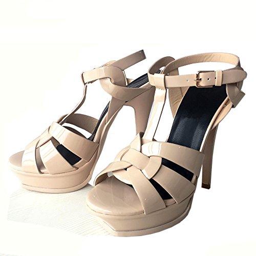 TAOFFEN Damen Mode Plateau T-Spange Sandalen Open Toe Slingback Stiletto Absatzs Hochzeit Schuhe Nackt