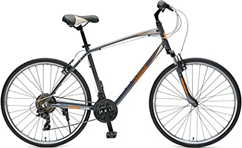 Critical Cycles Herren Barron Hybrid Bike 21 Speed 16in (S) Bicycle, Graphite and Orange, Small