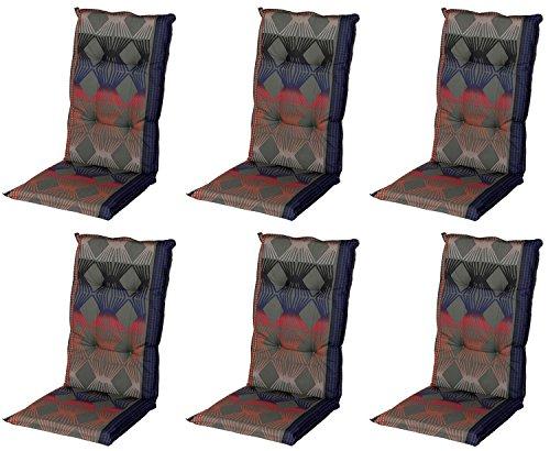 Schwar Textilien Stuhlauflage Hochlehner Gartenstuhlauflage Sitzauflage ca. 8cm Dick 6er Set Retro