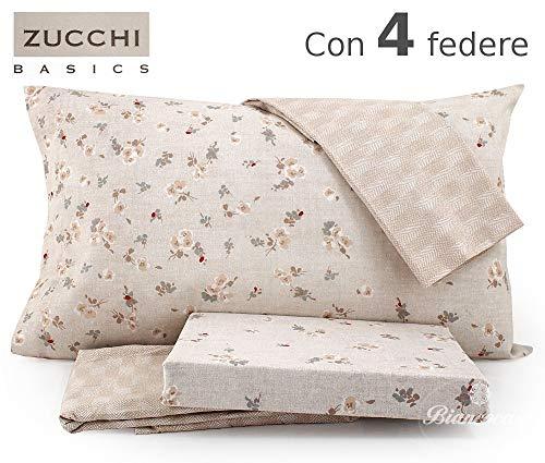 Zucchi completo letto matrimoniale basics art. little flowers var.6 beige - con quattro federe + tavoletta profumo biancheria per armadi by biancocasa