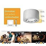 Schwenkbare LED Deckenleuchte rund & flach in Alu gebürstet inkl. fourSTEP LED-Modul 'Dimmen ohne Dimmer' - 5W warmweiß 230V