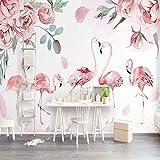 L22LW Wallpaper Flamant Rose Rose Salon Scandinave Moderne, Murs Papier Peint Papier Peint De Grandes Fresques Murales Sur Mesure Boutiques,300Cm*240Cm(H)