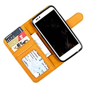 i-KitPit PU Leather Wallet Flip Case Cover For HTC Desire 500 (Yellow)
