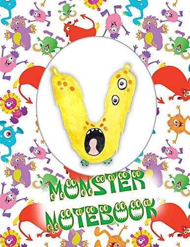 V Monster Notebook: Kids Monogrammed Journal and Doodle Book