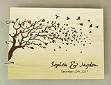 Einzigartiges Personalisiertes Holz Gravierte Herz Bäume Und Vögel Hochzeit Gästebuch Fotoalben Einklebebuch