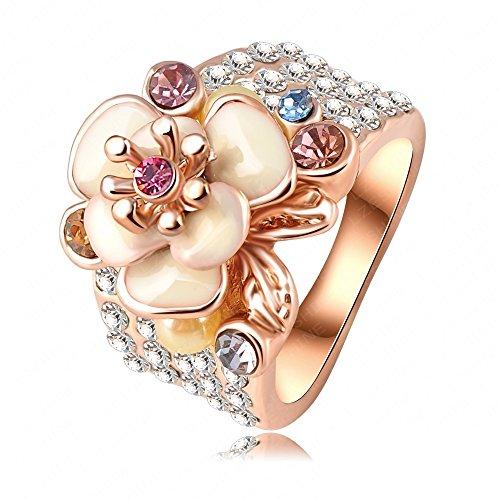 AnazoZ Schmuck 18K Überzogen Frauen Rose Goldösterreichischen Emaille Blumen Wedding Ring