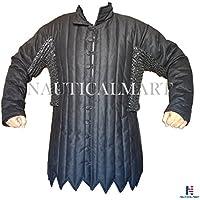 "Negro algodón Gambesón Maille–Voiders a prueba de óxido de acero inoxidable con ABS Size- 59"""