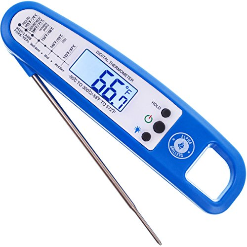 Instant Read Thermometer With Backlight For Meat & Cooking. Sold In Elegant Gift Box. Best Ultra Fast Digital BBQ Food Probe. Includes Internal Barbecue Meat Temperature Guide. By Alpha Grillers