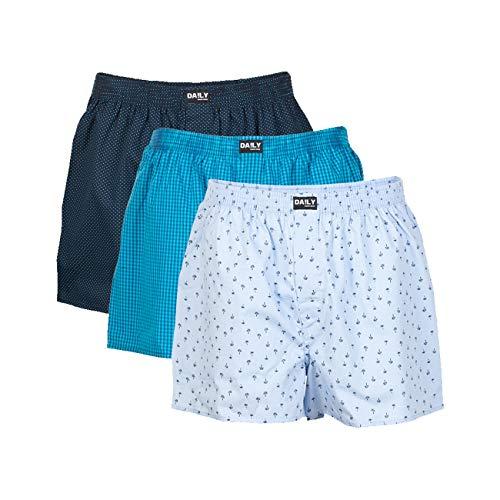 DA!LY Underwear Herren Webboxer Boxershorts Webboxershorts Men kariert S M L XL 2XL 3XL 4XL 5XL 100% Baumwolle 3er Pack, Größe:M (5), Farbe:Farbkombi 99/4