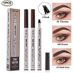 Tattoo Liquid Eyebrow Pencil con cuatro puntas de tenedor Impermeable y duradero Lápiz de cejas Ink Sketch Eyebrow Pen para Maquillaje Natural de Ojos(#2 Marrón)