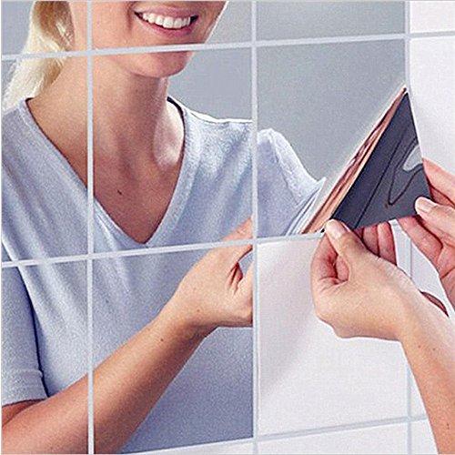 HKTOPONE 9 UNIDS Cuadrados de Azulejo Espejo Pegatinas de Pared 14.8 cm x 14.8 cm 3D Decal Mosaico Home...