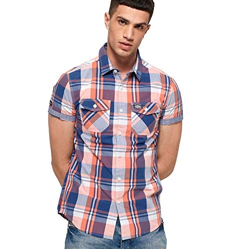Preisvergleich Produktbild Superdry Waschkorb Kurze Ärmel Hemd reife Aprikosen-Check XXL APRICOT