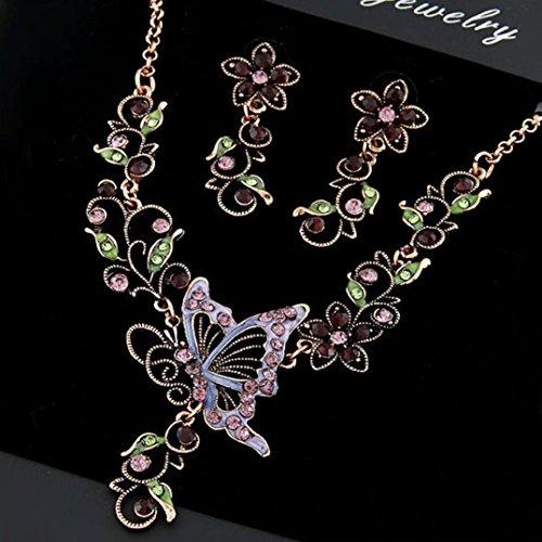 Sunnywill Damen Halskette Kette Choker Anhänger Vintage Schmetterling Halskette Anweisung Ohrringe Schmuck-Set - 5