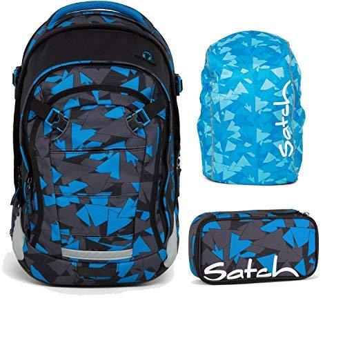 Satch MATCH by Ergobag Blue Triangle 3-tlg. Set Schulrucksack + Schlamperbox inkl. Geodreieck + Regenhaube Blau - Wächst mit bis 180cm Körpergröße!