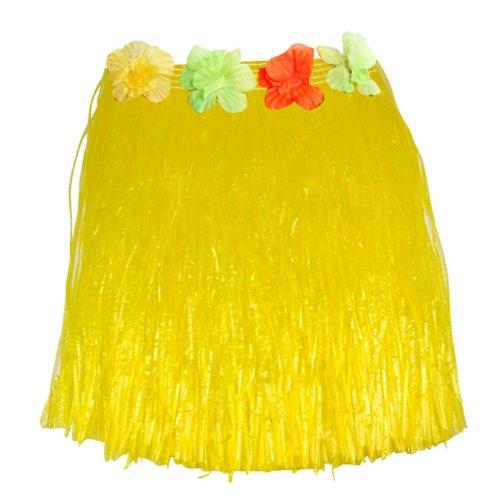 Imagen de gleader falda corta hawaiana de hierba con flores para fiesta de disfraces amarillo