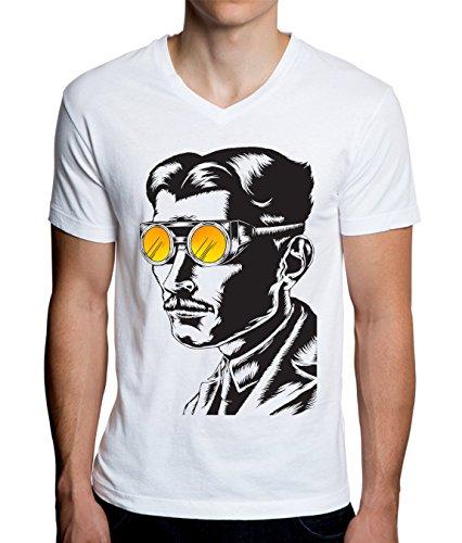Nikola Tesla Psychedelic Eyes Design Men\'s V-Neck T-Shirt Large