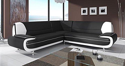 Mobilier Deco Canapé d'angle Design Noir et Blanc MUZA