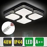 Hengda 48 Modern Wohnzimmerlampe LED Deckenleuchte Mit Fernbedienung Dimmbar IP44 Quadratisch Esszimmer Lampe Schlafzimmerleuchte Küchen Flurlampe[Energieklasse A++]