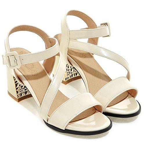 TAOFFEN Damen Mode-Event Slingback Schnalle Outdoor Blockabsatz Sommer Sandalen Beige