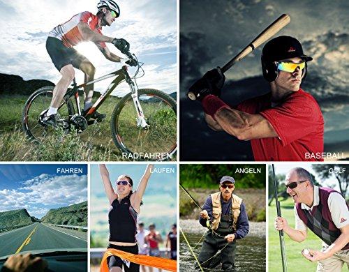 HODGSON Fahrradbrille Sport Sonnenbrille für Herren und Damen Polarisierte, Sportbrille mit 5 Wechselobjektiven und Radsports, Baseball, Laufen, Tr90-Rot … - 7