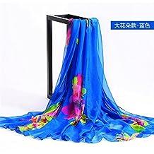 YRXDD Verano gran bufanda playa sombrilla sombrilla bufanda bufanda vacaciones toalla playa señoras largo de doble uso de viajes salvajes,flores grandes 145 * 195cm