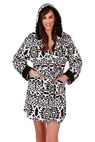 Damen Loungeable Luxus Aztec Bademantel Oder Einteiler Weich Fleece Nachtwäsche Schwarz Weiß - Shorts Robe