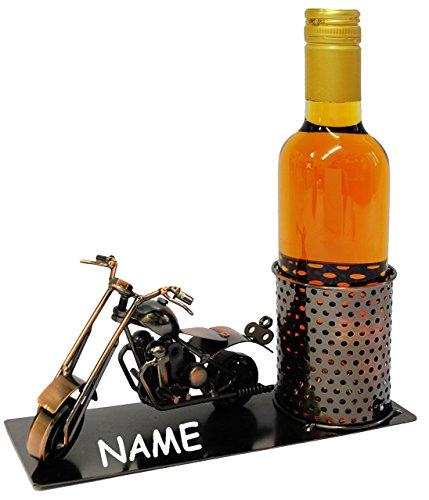 Unbekannt Flaschenhalter / Flaschenständer -  Motorrad / Shopper  - aus Metall - incl. Name - ideal...