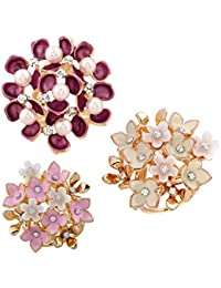MagiDeal 3 Pièces Boucle Broche Clip en Fleurs Cristal Strass avec Perles  pour Echapre Foulard Femmes 513e0bce757