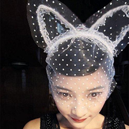 Spritech(TM) Women's Girls Fashion Lace White Cat Ears Dot Veil Band Head Band for Catwalk Shows Club Bar Party Costume Ball Black by (Ball Kostüme Chain Und)