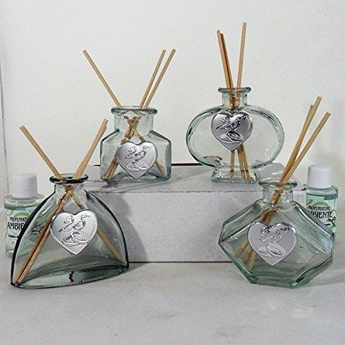 Dlm26169 (kit 12 pezzi) profumatori in vetro per 25° anniversario di matrimonio bomboniera