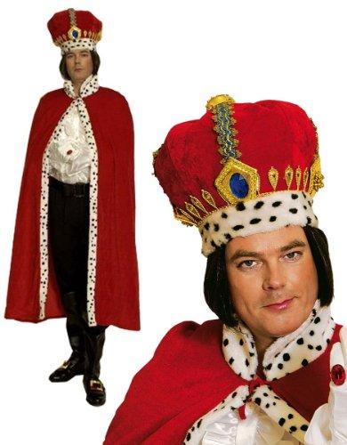 Kostüm König Kaiser Königskostüm Umhang Mantel pompös mit Krone (König Kostüm Krone Robe Und)
