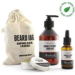 Bartpflege-Set: Beard Bag ✔ bestehend aus Bartshampoo, Bartöl, Bartwachs ✔ Naturkosmetik der BROOKLYN SOAP COMPANY ® ✔ Geschenkidee als Geschenk für Männer und als Reiseset für den modernen Mann