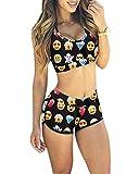 Minetom Mujeres Para Sport Cintura Alta Vintage Floral Impresión Push Up Acolchado Top Bikini Traje De Baño Beachwear Emoji ES 34