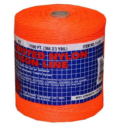 T.w. Evans Cordage 11–191 Number-18 Twisted Nylon Mason Ligne, 1100-feet, Orange
