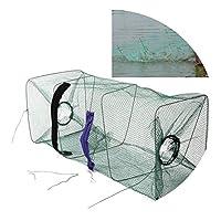 XFkbeA 1pcs de nylon cebo de pesca Trampa jaula de red de alta calidad plegable de la pesca jaula de red para Accesorios Crawdad Minnow camarón pescado salsa de cangrejo, L 25-25-65cm
