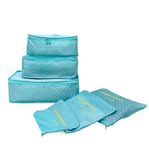 Organizadores para Maletas,Set de 6 Organizadores Viaje Impermeable para Ropa,Material Nylon,Azul Claro(3 Cubos Viaje + 3 Bolsas)