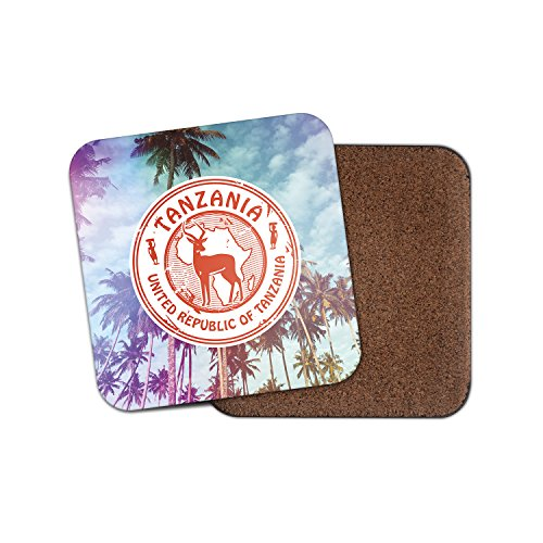 Tansania Afrika Safari Kork Getränke Untersetzer für Tee & Kaffee # 4252, holz, 2 Coasters