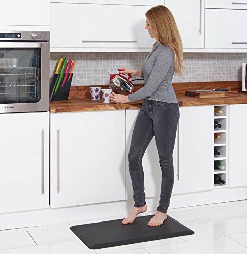 Prism Anti Fatigue Mat – Luxury, Ergonomic Mat for Kitchen, Standing Desk and Workstations – Unique Design Reduces Body Joint Stress and Pain – Black