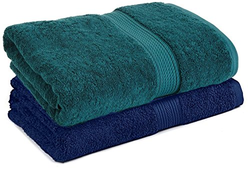 Trella 2 Piece 500 GSM Cotton Bath Towel Set - Navy Blue and Teal Green :: 140 x 70 cm