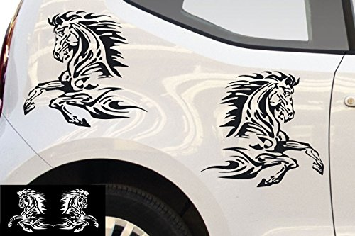 kleb-drauf® - 2 Pferde / Silber - glänzend - Aufkleber zur Dekoration von Autos, Motorrädern und allen anderen glatten Oberflächen im Außenbereich; aus 19 Farben wählbar; in matt oder glänzend