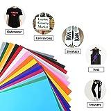 FOCCTS 25 Feuille de Vinyle de Transfert de Chaleur HTV Vinyle, Silhouette de Papier de Transfert de Feuille de Textile en Relief pour Le Bricolage t-Shirt, 12'x 10' 16 Couleurs