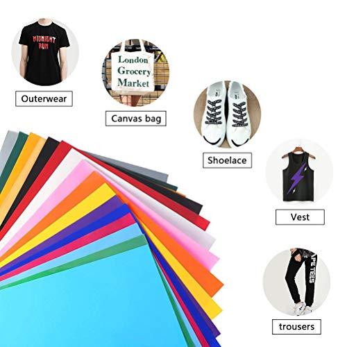 FOCCTS 25 Stück Heat Transfer Vinyl HTV Vinyls für Hemden Cricut oder Silhouette Cameo Textilfolien Transferpapier für DIY T-Shirt, Cricut, Cameo Wärmeübertragung Vinyl 12