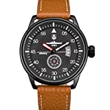 INFANTRY® Herren Analoges Quarzwerk Armbanduhr Datum Sport Braun Leder Band World of Tanks