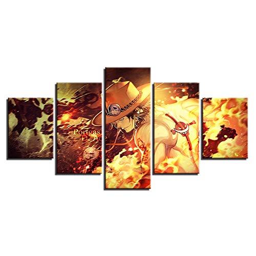 FJLOVE Kunstdruck auf Leinwand, Motiv One Piece Portgas·D· Ace Leinwanddrucke Wand Kunst Wohnkultur Für Wohnzimmer (Kein Rahmen),C,150x80cm